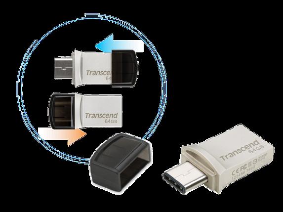 USB Флеш 64GB 3.0 Transcend TS64GJF890S метал, фото 2