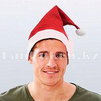 Новогодняя шапка красная с помпоном, шапочка деда мороза