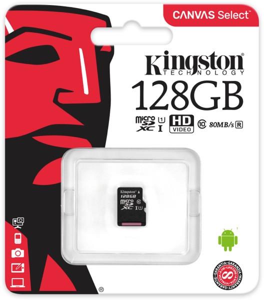 Карта памяти MicroSD 128GB Class 10 U1 Kingston SDCS/128GBSP
