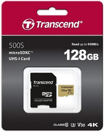 Карта памяти MicroSD 128GB Class 10 U3 Transcend TS128GUSD500S, фото 2