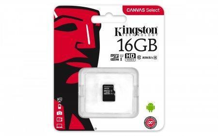 Карта памяти MicroSD 16GB Class 10 U1 Kingston SDCS/16GBSP, фото 2