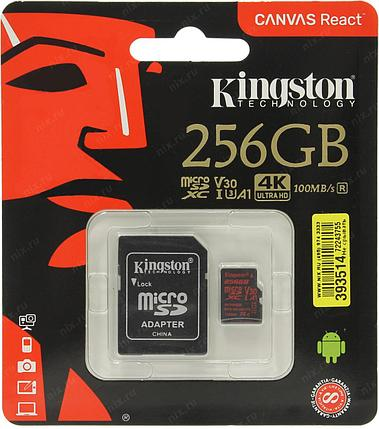 Карта памяти MicroSD 256GB Class 10 U3 A1 Kingston SDCR/256GB, фото 2