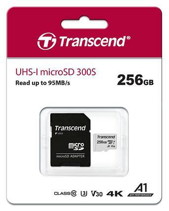 Карта памяти MicroSD 256GB Class 10 U3 A1 Transcend TS256GUSD300S-A, фото 2