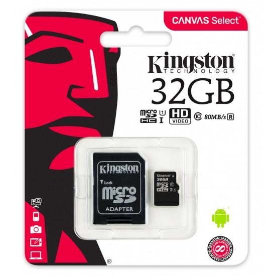 Карта памяти MicroSD 32GB Class 10 U1 Kingston SDCS/32GB