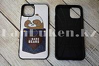 Чехол на iPhone 11 прорезиненный с кармашком белый с принтом панды