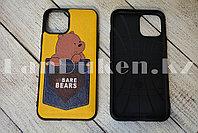 Чехол на iPhone 11 прорезиненный с кармашком жёлтый с принтом бурого медведя