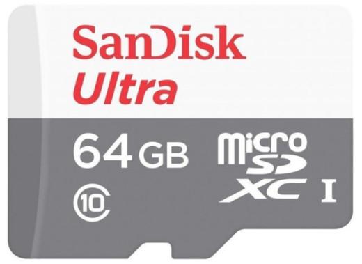 Карта памяти MicroSD 64GB Class 10 U1 SanDisk SDSQUNS-064G-GN3MA