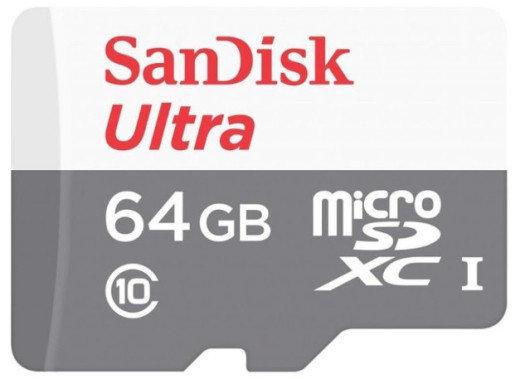 Карта памяти MicroSD 64GB Class 10 U1 SanDisk SDSQUNS-064G-GN3MA, фото 2