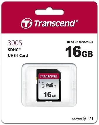 Карта памяти SD 16GB Class 10 U1 Transcend TS16GSDC300S, фото 2