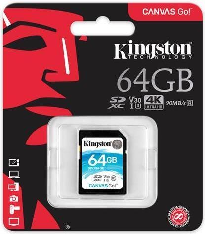 Карта памяти SD 64GB Class 10 U3 Kingston SDG/64GB