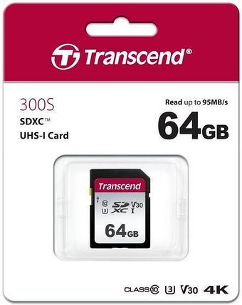 Карта памяти SD 64GB Class 10 U3 Transcend TS64GSDC300S, фото 2