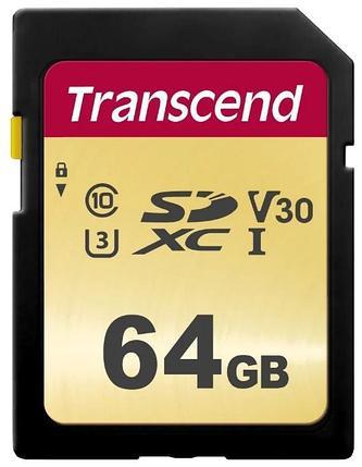 Карта памяти SD 64GB Class 10 U3 Transcend TS64GSDC500S, фото 2