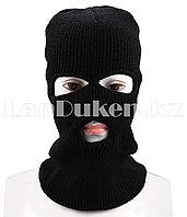 Балаклава (лыжная маска) с прорезями для глаз и губ вязанная черная