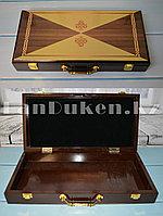 Кейс подарочный сувенирный деревянный с металлической золотистой ручкой и защёлками