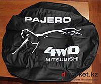 """Чехол на запасное колесо """"Pajero 4WD Mitsubishi"""", кожзам, диаметр 16"""