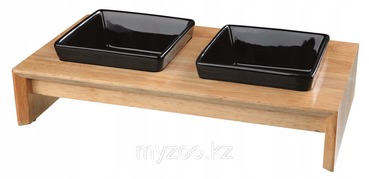 Миска керамическая на деревянной  подставке  0.2 л