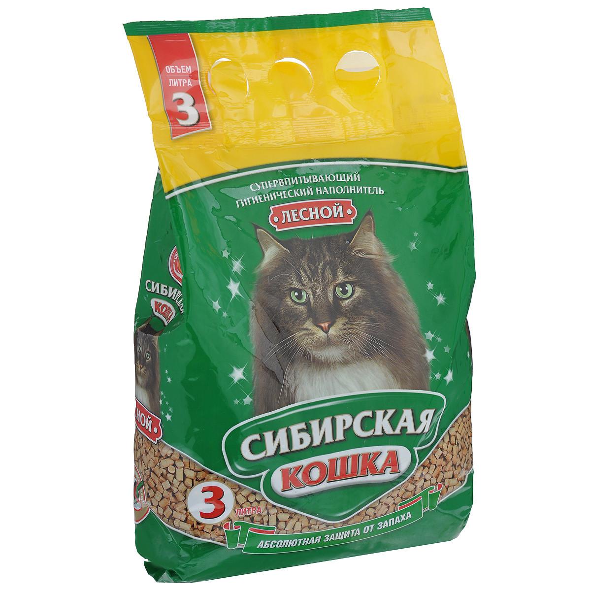 Сибирская кошка Древесный наполнитель, 7 л