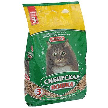 Древесный впитывающий наполнитель Сибирская кошка Лесной