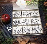 Набор деревянных елочных игрушек  (Снежинки), фото 1