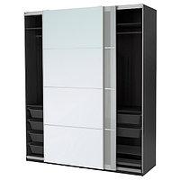 Гардероб ПАКС черно-коричневый Аули Сэккен, 200x66x236 см  ИКЕА, IKEA, фото 1