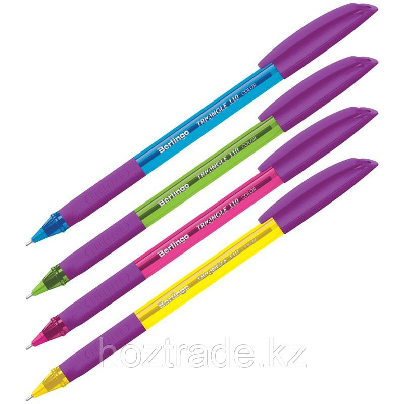 """Ручка шариковая Berlingo """"Triangle 110 Color"""" синяя, 0,7мм, грип, корпус ассорти"""