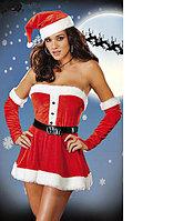 Мини-платье с перчатками Санта