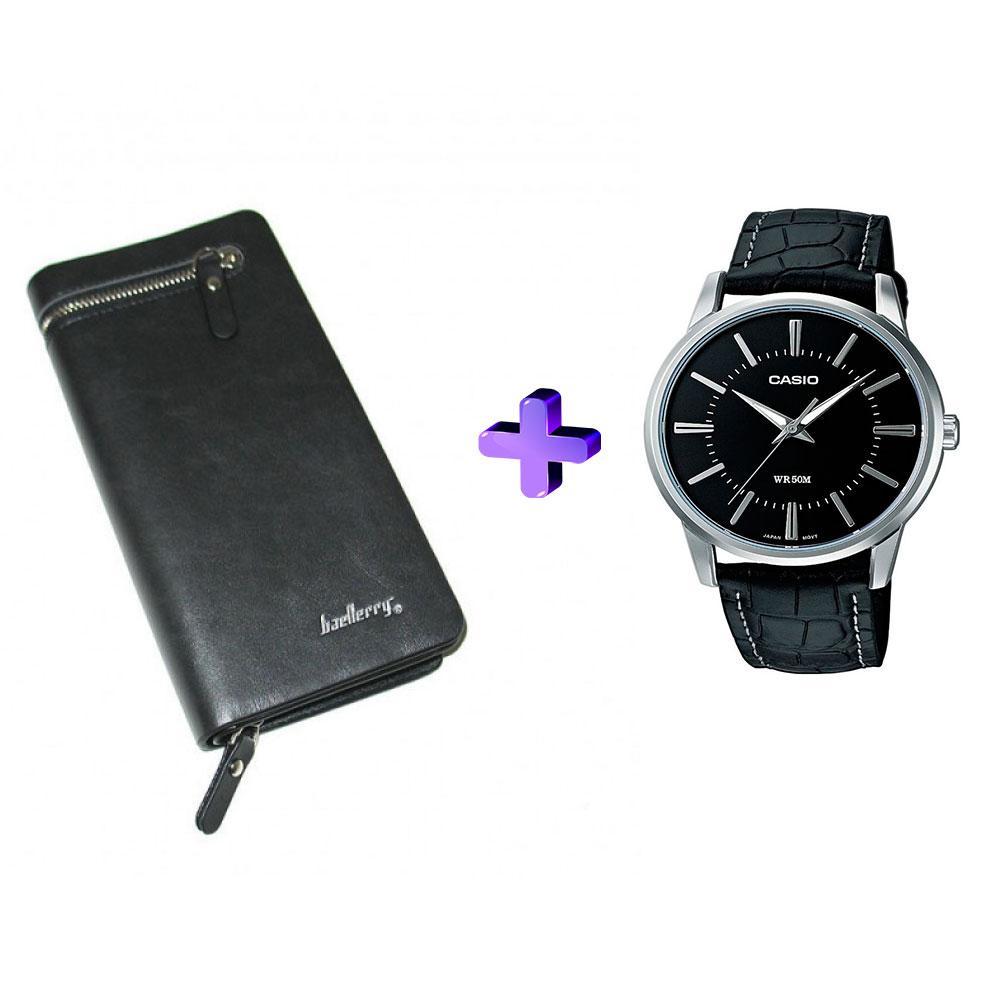 Мужское портмоне Baellerry Italia + часы в подарок