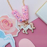 """Кулон детский """"Выбражулька"""" пайетки, единорог, цвет бело-розовый в золоте   3932682"""