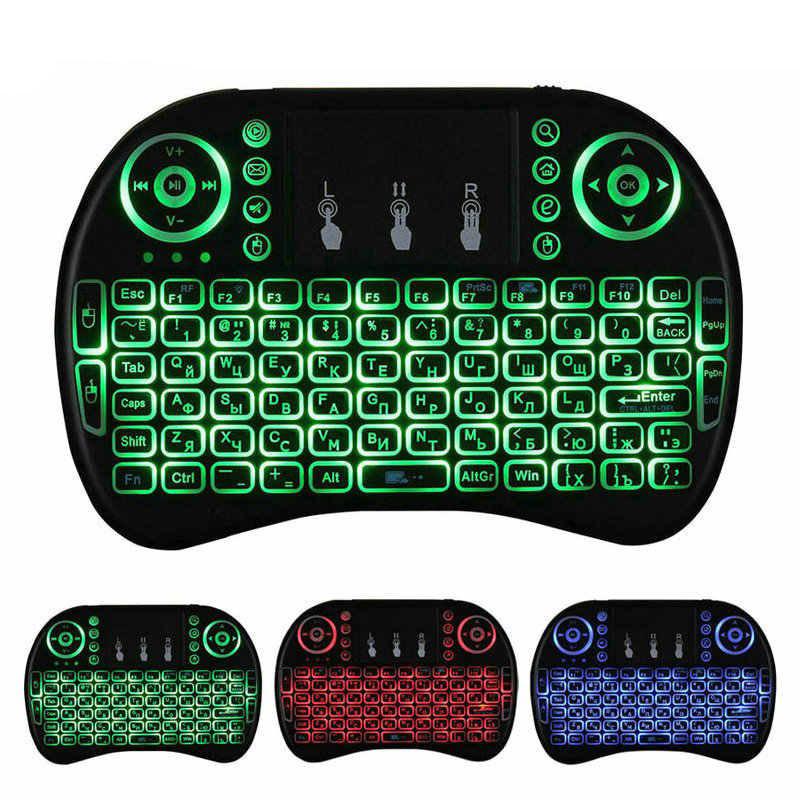 Беспроводная мини клавиатура с Led подсветкой русская с тачпадом UKC i8 2.4G для Smart TV