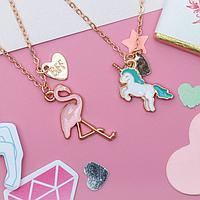 """Кулон детский """"Выбражулька"""" фламинго и единорог, 2 цепочки, цветные в золоте   3932683"""