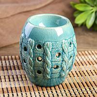 """Аромалампа керамика """"Крупная вязка"""" голубая 11х9х9 см   4103872"""