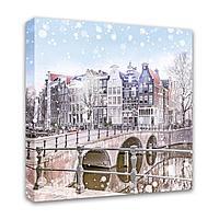 Картина Симфония 0017 Зимний мост; 40*40 см