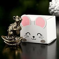 "Сувенир металл ""Мышка Процветания"", латунь, в коробке 2,6х3,4 см   4407331, фото 1"