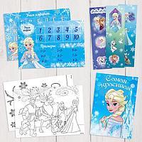 Подарочный творческий набор: наклейки, блокнот, раскраски, обучающие карточки, Холодное сердце