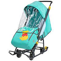 Санки коляска Ника Disney baby 1 Винни изумрудный