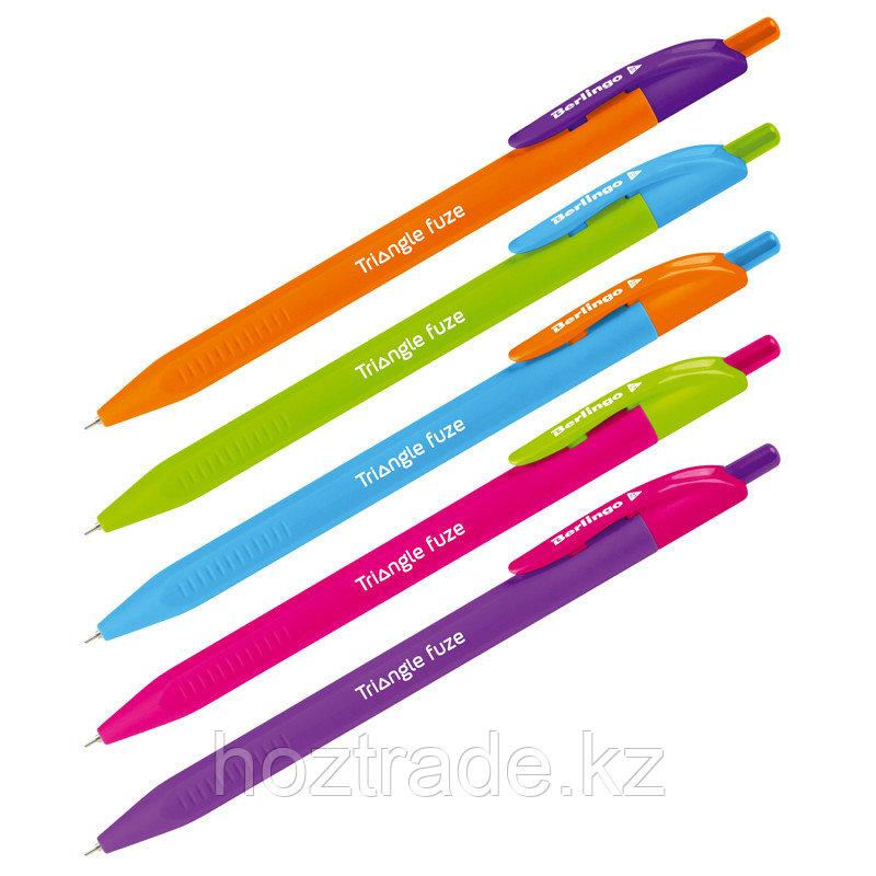 """Ручка шариковая автоматическая Berlingo """" Triangle Fuze RT"""" синяя,0.7 мм, трехгранный корпус"""
