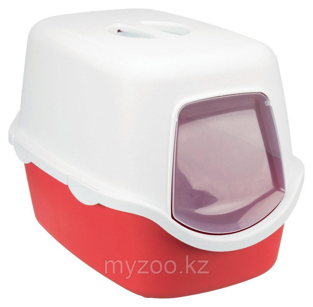 Туалет-био пластиковый для кошек, с крышей и дверцей, р-р 40 × 40 × 56см,