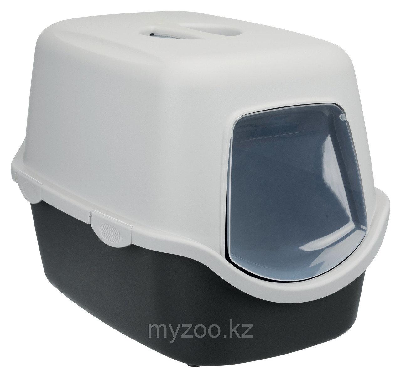 Туалет-био для кошек. Пластик. С крышей, дверцей и угольным фильтром. Р-р 40 × 40 × 56 cm