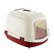 Туалет-био пластиковый с крышей, с дверцей, угольный фильтр, для крупных пород кошек. размер 56×47×71см