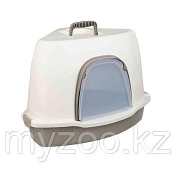 Угловой туалет Alvaro для кошек, с дверью и капюшоном. Легкие замки, цвет бежевый-кремовый. Р-р 55 × 42 × 42/