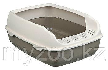 Туалет Delio для кошек, с  очень высоким бортиком. Легкие замки, цвет бежевый-кремовый. Р-р 35 × 20 × 48 cm