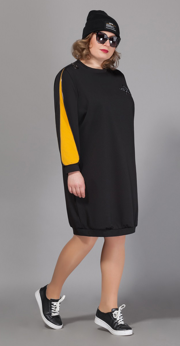 Платье Сч@стье-7040р-4, черный+горчица, 42