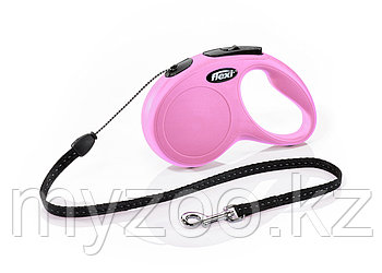 "Рулетка поводок ""NEW Classic Basic S"" шнур, длина-5 м,вес -20кг. Розовый цвет"