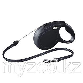"""Рулетка поводок """"NEW Classic Long S"""" шнур, длина-8м,вес -20кг. Черный цвет"""