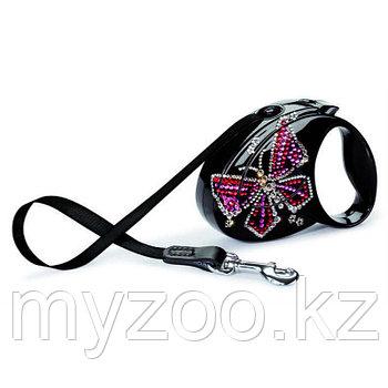 "Рулетка поводок ""Flexi Butterfly Small"" лента, длина-3м, вес -12кг. Бабочка из кристалов Сваровски на черном ф"