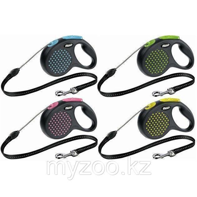 Рулетка поводок Дизайн, шнур, М, зеленый горошек, 5м, 20 кг
