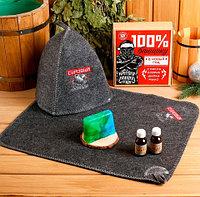 Подарочный набор банный «БАННАЯ ЗАБАВА» {шапка, коврик, 2 масла, мыло} (100% банщику)