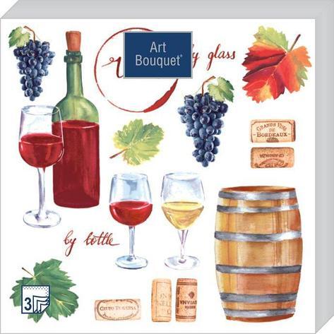 "Салфетки 33х33см, 2 сл., ""Вино"", Бумага, 20 шт, фото 2"