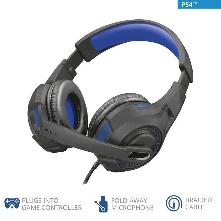 Trust GXT 307B Ravu PS4 Наушники гарнитура игровая синий