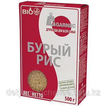 Рис нешлифованный бурый БИО Гарнец, 500 гр